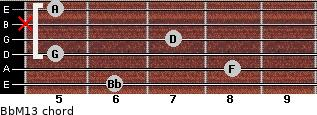 BbM13 for guitar on frets 6, 8, 5, 7, x, 5