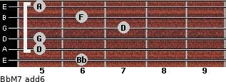 BbM7(add6) for guitar on frets 6, 5, 5, 7, 6, 5