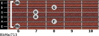 BbMaj7/13 for guitar on frets 6, 8, 7, 7, 8, 6