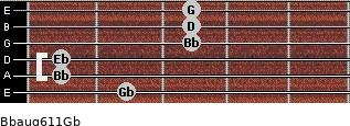 Bbaug6/11/Gb for guitar on frets 2, 1, 1, 3, 3, 3