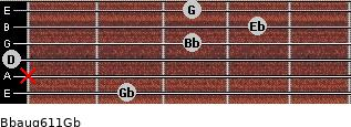 Bbaug6/11/Gb for guitar on frets 2, x, 0, 3, 4, 3