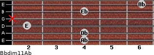 Bbdim11/Ab for guitar on frets 4, 4, 2, x, 4, 6