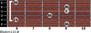 Bbdim11/C# for guitar on frets 9, 6, 8, 9, 9, 6