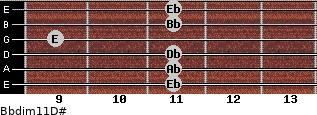 Bbdim11/D# for guitar on frets 11, 11, 11, 9, 11, 11