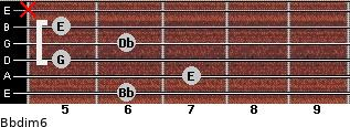 Bbdim6 for guitar on frets 6, 7, 5, 6, 5, x