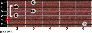 Bbdim6 for guitar on frets 6, x, 2, 3, 2, 3