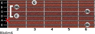 Bbdim6 for guitar on frets 6, x, 2, 6, 2, 3