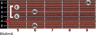 Bbdim/6 for guitar on frets 6, x, 5, 6, 5, 9