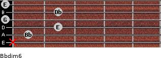 Bbdim6 for guitar on frets x, 1, 2, 0, 2, 0