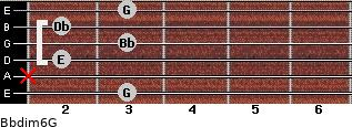 Bbdim6/G for guitar on frets 3, x, 2, 3, 2, 3