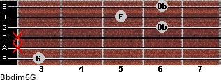 Bbdim6/G for guitar on frets 3, x, x, 6, 5, 6