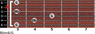 Bbm6/G for guitar on frets 3, 4, 5, 3, x, 3
