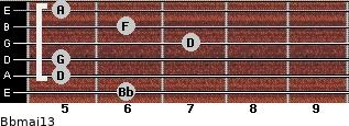 Bbmaj13 for guitar on frets 6, 5, 5, 7, 6, 5