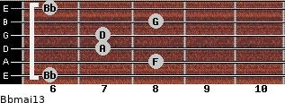 Bbmaj13 for guitar on frets 6, 8, 7, 7, 8, 6