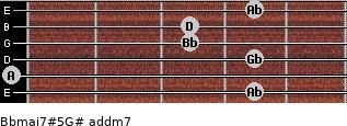 Bbmaj7#5/G# add(m7) for guitar on frets 4, 0, 4, 3, 3, 4
