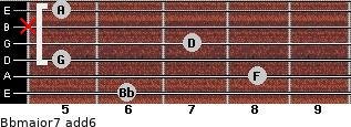 Bbmajor7(add6) for guitar on frets 6, 8, 5, 7, x, 5