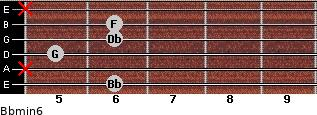 Bbmin6 for guitar on frets 6, x, 5, 6, 6, x