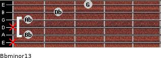 Bbminor13 for guitar on frets x, 1, x, 1, 2, 3