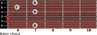 Bdim for guitar on frets 7, x, x, 7, 6, 7