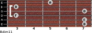Bdim11 for guitar on frets 7, 7, 3, 7, 3, 5