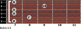 Bdim13 for guitar on frets 7, 8, 7, 7, 9, 7