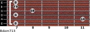 Bdom7/13 for guitar on frets 7, 11, 7, 8, 7, 7