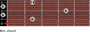 Bm for guitar on frets x, 2, 0, 4, 0, 2
