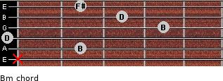 Bm for guitar on frets x, 2, 0, 4, 3, 2