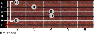 Bm for guitar on frets x, 2, 4, 4, 3, 2