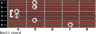 Bm11 for guitar on frets 7, 5, 4, 4, 5, 5