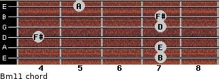 Bm11 for guitar on frets 7, 7, 4, 7, 7, 5