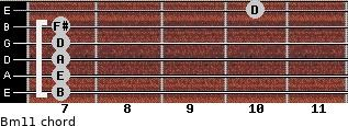 Bm11 for guitar on frets 7, 7, 7, 7, 7, 10