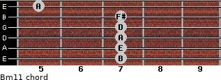 Bm11 for guitar on frets 7, 7, 7, 7, 7, 5