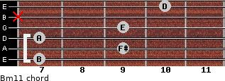 Bm11 for guitar on frets 7, 9, 7, 9, x, 10