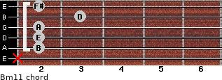 Bm11 for guitar on frets x, 2, 2, 2, 3, 2