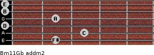 Bm11/Gb add(m2) guitar chord