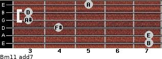 Bm11 add(7) for guitar on frets 7, 7, 4, 3, 3, 5