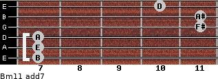 Bm11 add(7) for guitar on frets 7, 7, 7, 11, 11, 10