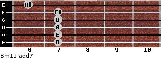 Bm11 add(7) for guitar on frets 7, 7, 7, 7, 7, 6
