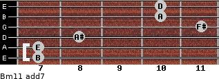 Bm11 add(7) for guitar on frets 7, 7, 8, 11, 10, 10