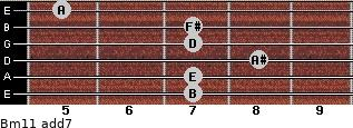 Bm11 add(7) for guitar on frets 7, 7, 8, 7, 7, 5