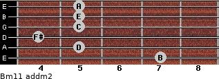 Bm11 add(m2) for guitar on frets 7, 5, 4, 5, 5, 5