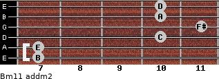 Bm11 add(m2) for guitar on frets 7, 7, 10, 11, 10, 10