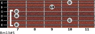 Bm13#5 for guitar on frets 7, 10, 7, 7, 9, 10