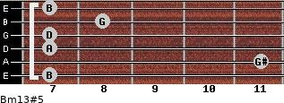 Bm13#5 for guitar on frets 7, 11, 7, 7, 8, 7
