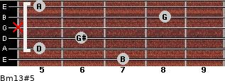 Bm13#5 for guitar on frets 7, 5, 6, x, 8, 5