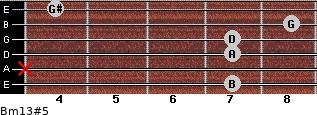 Bm13#5 for guitar on frets 7, x, 7, 7, 8, 4