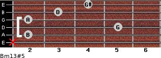 Bm13#5 for guitar on frets x, 2, 5, 2, 3, 4