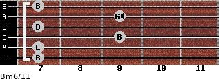 Bm6/11 for guitar on frets 7, 7, 9, 7, 9, 7