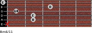 Bm6/11 for guitar on frets x, 2, 2, 1, 3, 0